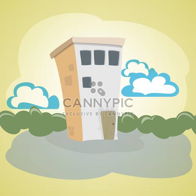 Vector illustration of cartoon stone house with green trees and blue clouds - Free vector #125827