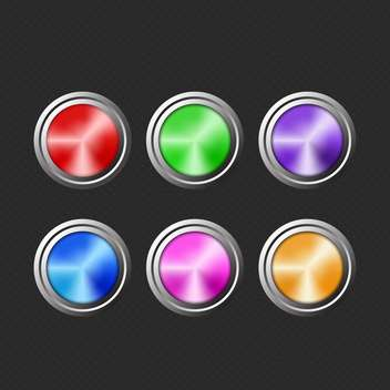 Vector illustration of wed round colored buttons on black background - Free vector #125917