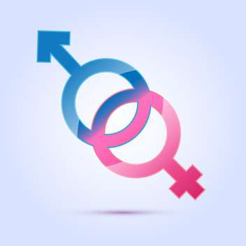 vector illustration of male and female sex symbols on blue background - vector gratuit #125967