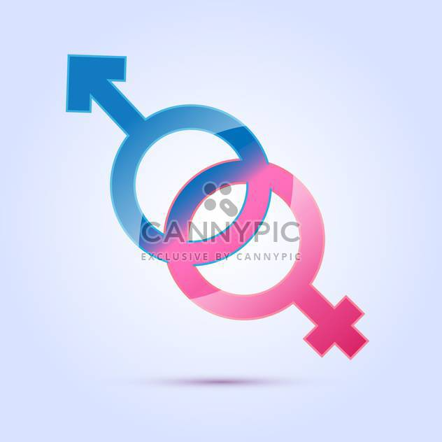 vector illustration of male and female sex symbols on blue background - Free vector #125967