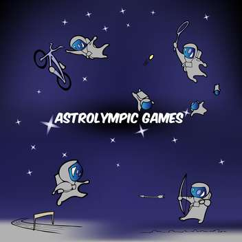 Vector illustration of astrolympic games inscription on blue sky with astronauts - Kostenloses vector #125977