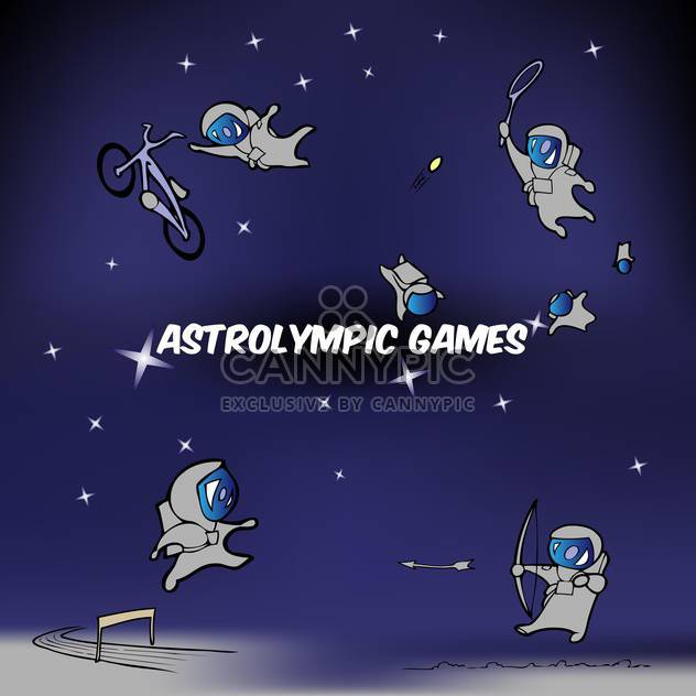Vector illustration of astrolympic games inscription on blue sky with astronauts - Free vector #125977
