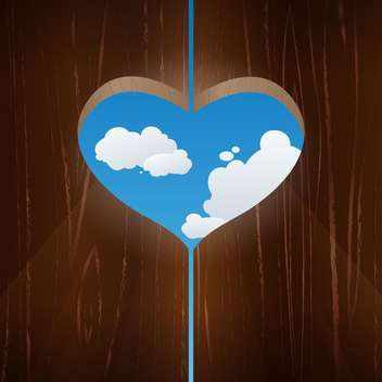 Vector illustration of wooden heart shaped window against the sky - Free vector #125987