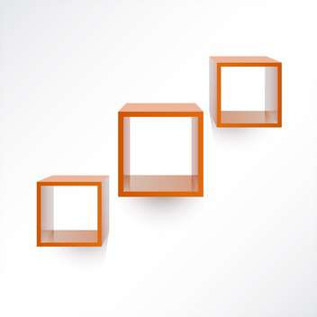 Vector set of three square wooden shelves on white background - vector #126007 gratis