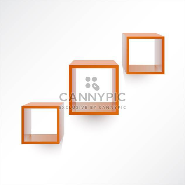 Vector set of three square wooden shelves on white background - Free vector #126007