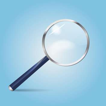 Vector illustration of magnifying glass on blue background - vector gratuit #126057