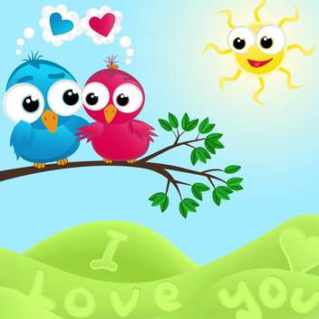 colorful illustration of lovely couple of birds in love at summertime - vector gratuit #126067