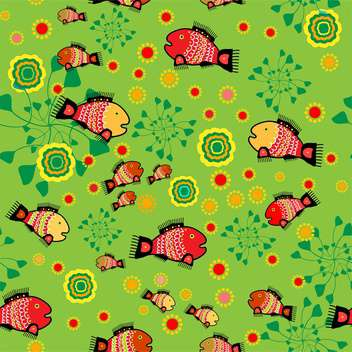 colorful illustration of folk background with colorful fish and flowers - vector gratuit #126097
