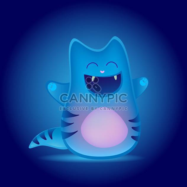 colorful illustration of cute funny cartoon cat on blue background - Free vector #126137