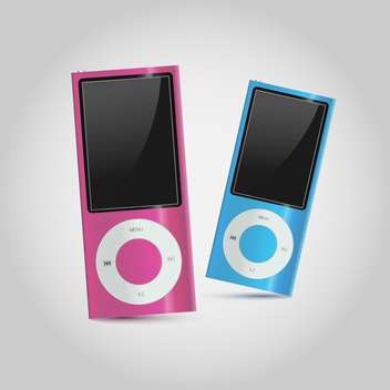 Vector illustration of colorful modern mp4 players on white background - vector gratuit #126147
