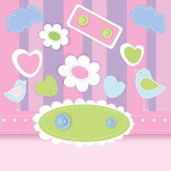 Vector illustration of striped pink background with cute birds and flowers - vector gratuit #126157