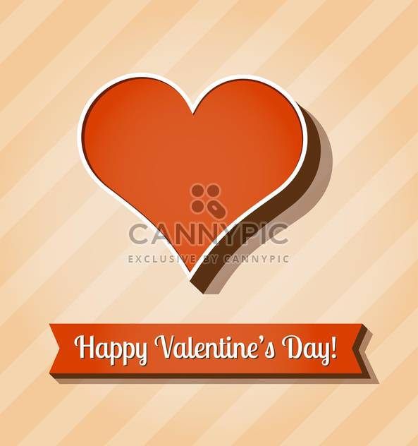 retro valentine card with red heart and text place - Free vector #126177