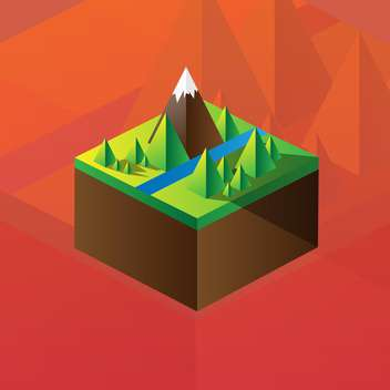 Vector illustration of square maquette of mountains on colorful background - vector gratuit #126187