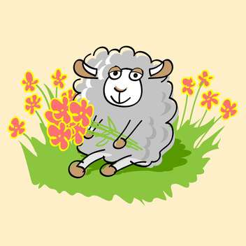 Vector illustration of cute cartoon sheep sitting on green grass with flowers on beige background - Free vector #126197