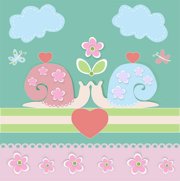 Vector background with lovely cartoon snails and hearts - vector #126237 gratis