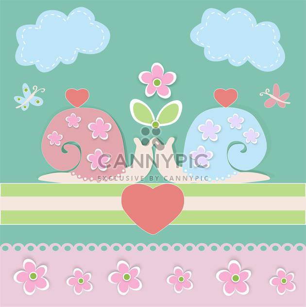 Vector background with lovely cartoon snails and hearts - Free vector #126237