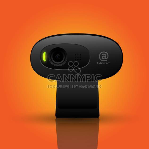 Vector illustration of black webcam on orange background - Free vector #126247