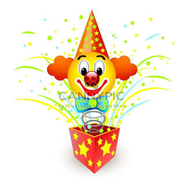 colorful illustration of box with colorful clown on white background - Free vector #126257