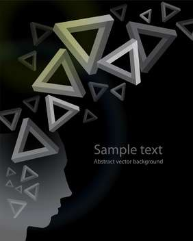 Abstract geometric black background with triangles and human face - vector gratuit #126317