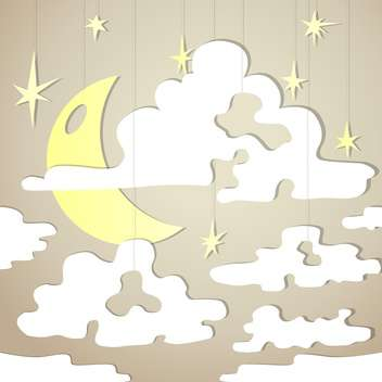 Vector background with night sky and yellow moon with stars - vector gratuit #126357