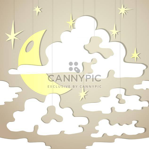 Vector background with night sky and yellow moon with stars - Free vector #126357