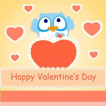 Vector background for Valentines day with colorful cute owl - vector gratuit #126397