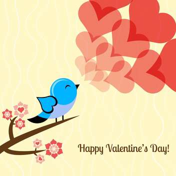 Vector illustration of valentine card with lovely bird and hearts - vector gratuit #126457