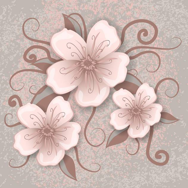 Vector illustration of decoration flowers on pink and grey background - vector gratuit #126467