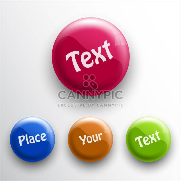 Vector set of round glossy colorful buttons on white background with text place - Free vector #126477