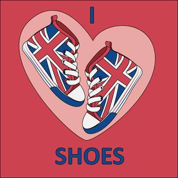 Vector illustration of great britain flag on shoes on red background - бесплатный vector #126537