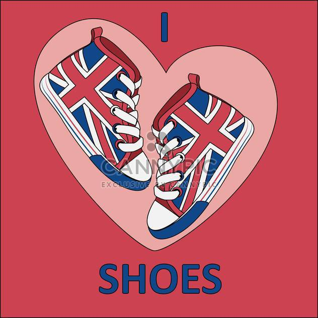 Vector illustration of great britain flag on shoes on red background - Free vector #126537