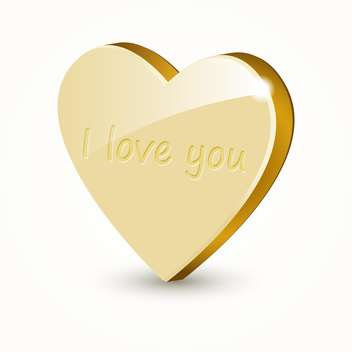 Vector illustration of golden love heart isolated on white background - Free vector #126587