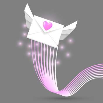 Vector illustration of winged love mail envelope on grey background - Free vector #126607