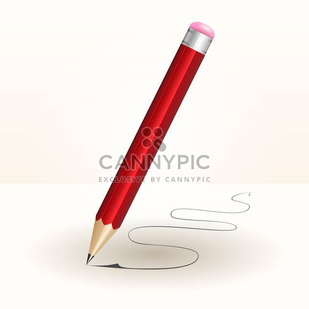 Vector illustration of red wooden pencil on white background - Free vector #126637