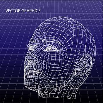 vector model of human face on blue background - vector gratuit #126657