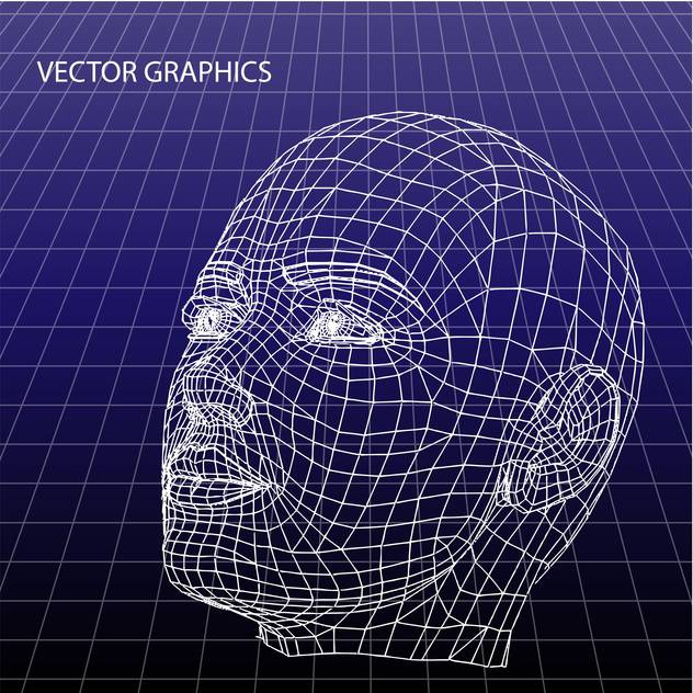 vector model of human face on blue background - vector #126657 gratis