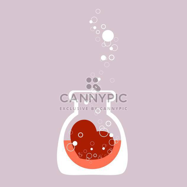 Chemical test tube with heart for valentine card - Free vector #126687