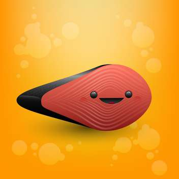 colorful illustration of cute salmon face on orange background - vector gratuit #126747