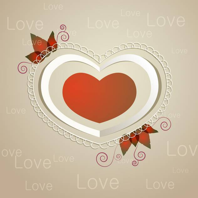 Vector illustration of greeting card with vintage heart and text place - vector gratuit #126767