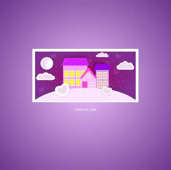 vector illustration of town of love card on purple background - vector gratuit #126847