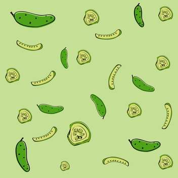 Vector illustration of green background with fresh cucumbers - Free vector #126947