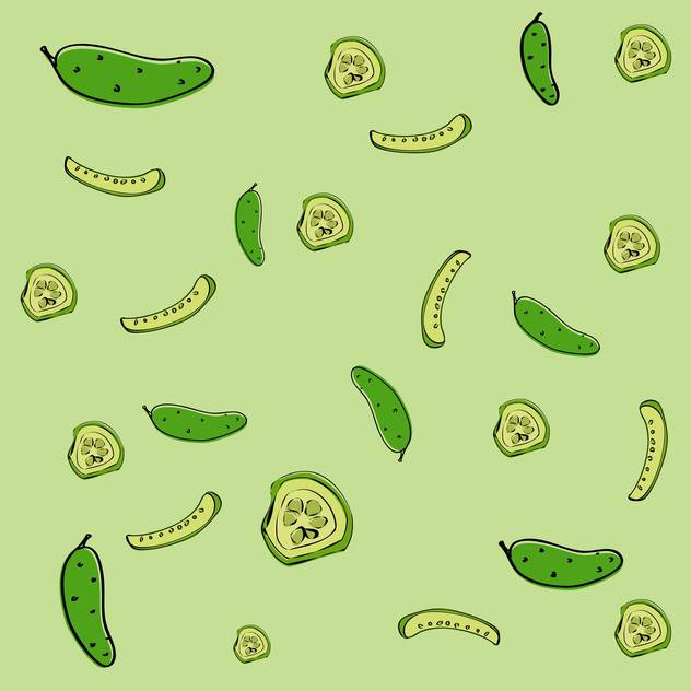 Vector illustration of green background with fresh cucumbers - vector gratuit #126947