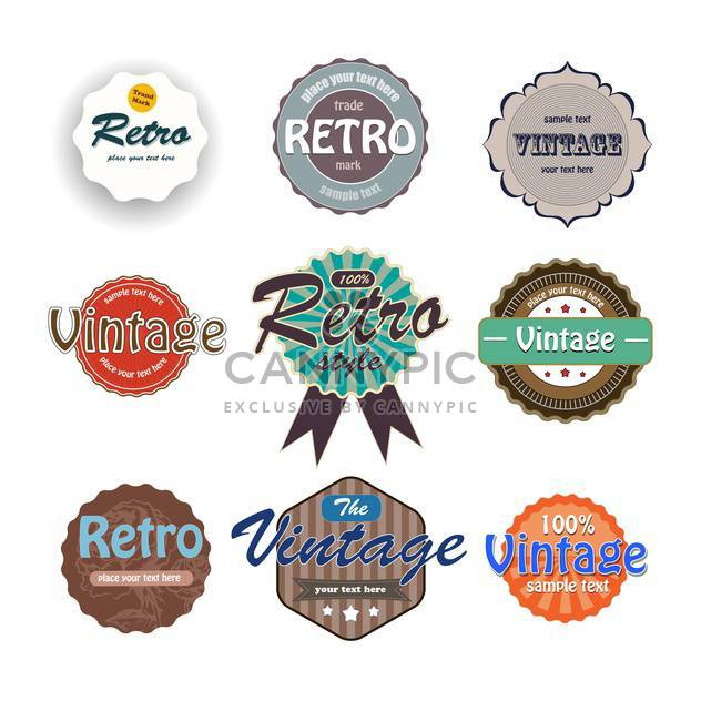 Vector set of colorful vintage labels on white background - Free vector #127127