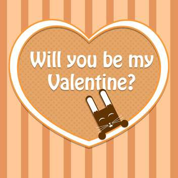 Vector Valentine card with cute rabbit and text place - vector #127137 gratis