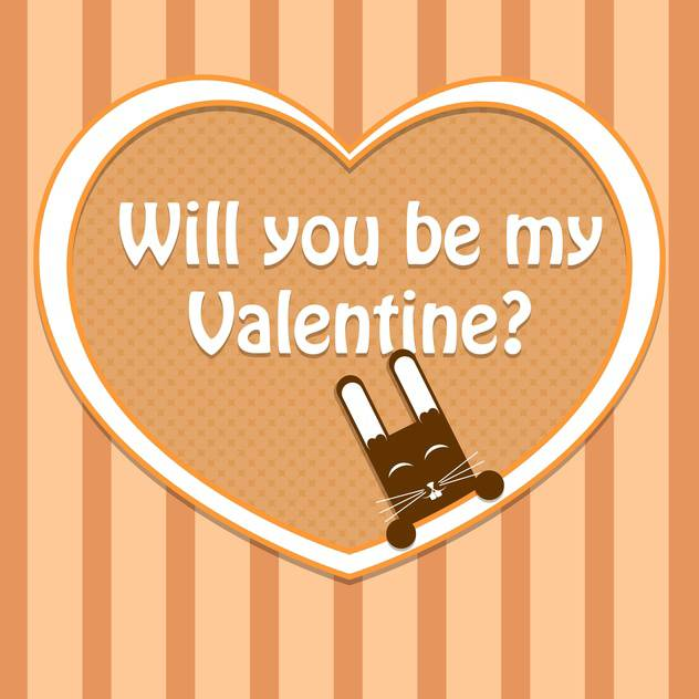 Vector Valentine card with cute rabbit and text place - Free vector #127137