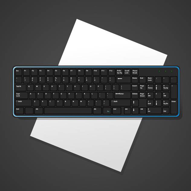 Vector black background with computer keyboard - Free vector #127147