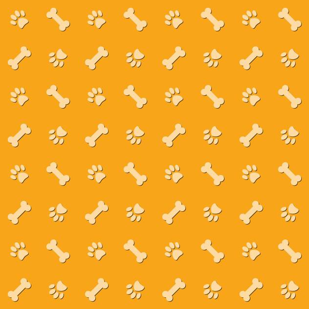 Yellow background with dog paw prints and bones - vector #127207 gratis