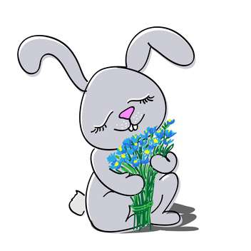 Cute rabbit with bouquet of flowers on white background - бесплатный vector #127217