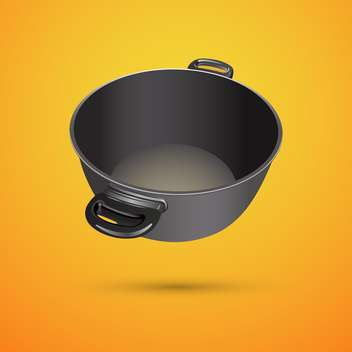 Vector illustration of black pan on orange background - Free vector #127287