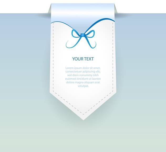 Vector blue banner with bow and text place - vector gratuit #127317